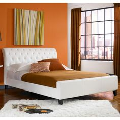 Omnia synthetic leather tufted full size platform bed - Overstock Shopping - Great Deals on Fashion Bed Group Beds