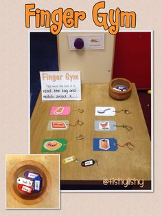 Phonic Finger Gym - matching CVC words with their picture plus some fine motor control built inHoly crap how cool is this? Now, where to find those tiny locks!Finger gym table- read the tag and unlock the padlock. Motor Skills Activities, Phonics Activities, Gross Motor Skills, Classroom Activities, Phonics Lessons, Nursery Activities, Cutting Activities, Preschool Centers, Preschool Literacy
