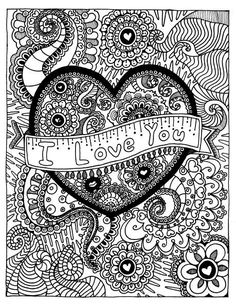 I LOVE YOU Coloring Page Coloring Book Pages Printable by funfart