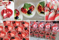 Sweet Jello Treat Recipe: Red Jello mixed to package directions and poured into single-serving cups After the Jello is set, add a dollop of creamy Supreme Vanilla frosting (Made pink with a bit of red food coloring)  Chocolate sticks make the Ladybug's antenna; a blackberry for Ladybug's head; and a strawberry for the wings  The dots on the wings are Chocolate gel!