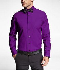 Express Mens 1Mx Modern Fit Spread Collar Shirt Parisian Purple Button