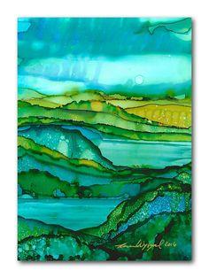 Swimming Holes / Abstract Landscape Print by KarenWysopalArt