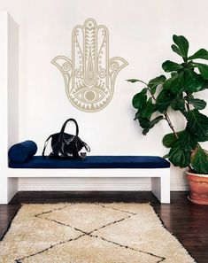 Bohemian Hamsa Fatima Hand Decal for Living Room, Dorm, Yoga, Studio, Home or Bedroom