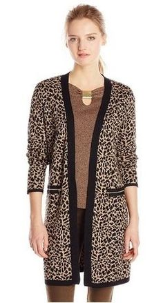 Rafaella Womens Petite Animal Jacquard Sweater Coat