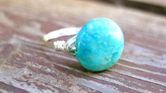 Turquoise Bella-Sterling Silver Filled Wire Wrapped Stone Ring-Made to Order- Custom Size- Custom Made