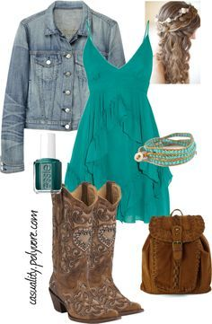 """Western Chic"" perfect date night outfit Country Style Outfits, Country Dresses, Country Fashion, Country Outfits For Women, Country Western Outfits, Cute Fashion, Girl Fashion, Fashion Outfits, Womens Fashion"