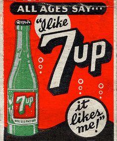 #Publicidad de la #Gaseosa (#Refresco) #7up es un #Cartel de antaño #Vintage ad