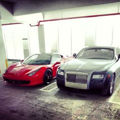 Rolls Royce and red Ferrari in our collection. Rolls Royce Rental, Rolls Royce Cars, Rolls Royce Phantom, Miami Beach, Super Cars, Ferrari, Red, Collection