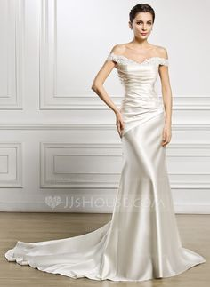 Trumpet/Mermaid Off-the-Shoulder Court Train Ruffle Lace Beading Sequins Lace Up Regular Straps Sleeveless Church General Plus No Winter Spring Fall Ivory Satin Wedding Dress