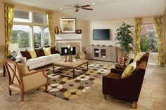 Living Room Arrangement With Corner Fireplace And Wall Tv | My Home