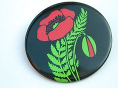 Lovely POPPY  brooch /badge/ pinback button from USSR - Big pinback button - Flower brooch - Soviet design