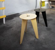 """""""Drilling"""" (""""Triplet"""") stool by Christian Kim, made from 3 identical aluminum parts. Chairs, Christian, Furniture, Home Decor, Home Decor Accessories, Homes, Decoration Home, Room Decor, Home Furnishings"""