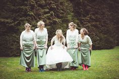 The Real Wedding of Hannah and Brad | Bridesmaids in Wellies | My Beautiful Bride Photography | www.weddingsite.co.uk