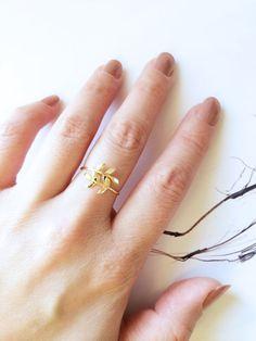 Gold Rose Gold Olive Branch Ring 925 Silver Leaf by SinDoreiJewel