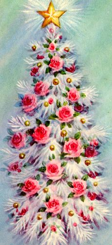 Vintage Christmas Card - White tree, pink flowers.