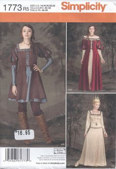 Medieval Renaissance Dress Queen Maiden Huntress Princess Costume Womens Plus Size 16 18 20 22 Sewing Pattern 2012 Simplicity 1773U  I love that brown and blue outfit!