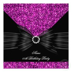 Pink Birthday Party Black Glitter Diamond Personalized Invite