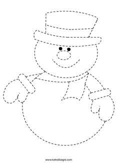 Esercizi di pregrafismo - Pupazzo neve - TuttoDisegni.com