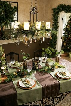 Christmas table and chandelier
