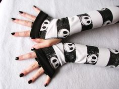 Jack Skellington, Skull  Arm Warmers, Fingerless Gloves, NBC   GlovesbyDesign - Accessories on ArtFire