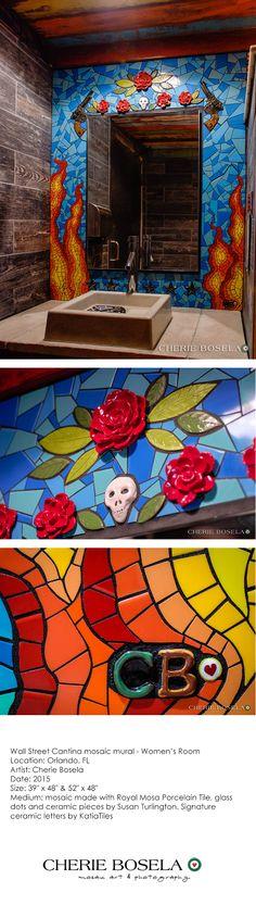 Wall Street Cantina - Men's Room - Orlando, FL - mosaic mural - By Cherie Bosela #mosaic #Orlando
