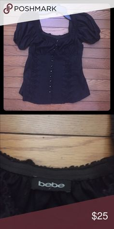 Bebe top Bebe Off the shoulder sexy corset style top .. Buttons have crystals bebe Tops Button Down Shirts