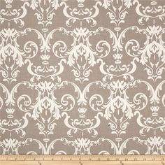 Riley Blake Halle Rose Damask Gray from @fabricdotcom  Designed by Lila Tueller Designs for Riley Blake, this cotton print fabric is perfect for quilting, apparel and home decor accents. Colors include taupe grey and white.