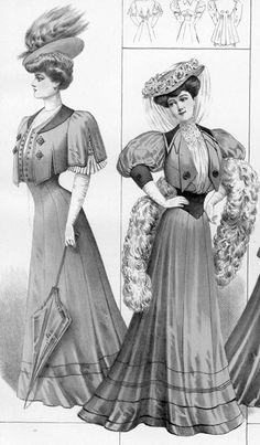 1906 / Illustrations / S - Blend corset / High neck / Ruffles / Fur trims / Lace details