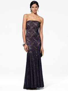 Black Metallic Strapless Mermaid Gown with Lace Detail