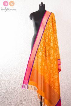 Orange Handwoven Katan Georgette Cutwork Brocade Dupatta
