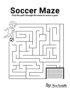 Preschool Activities At Home, Fall Preschool, Maze Worksheet, Kindergarten Worksheets, Mazes For Kids Printable, Free Printables, Activity Sheets For Kids, Coloring Pages For Boys, Soccer Birthday Parties