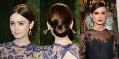 The intricate updos that we frequently see on the red carpet can seem impossible to re-create, but if you look closely, even the most complicated looks can be Sleek Hairstyles, Celebrity Hairstyles, Oscar 2013, Modern Updo, Bridal Hair Buns, Hair Styles 2016, Lily Collins, Hair Dos, Updos