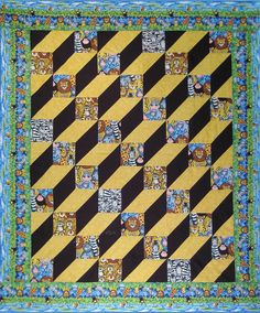 """""""Shoebox Treasures"""" (elongated tumbling blocks).  Quilt pattern by Ann Anderson at Quilt Woman"""