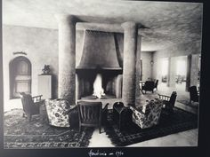 Lounge and fireplace in the 1940s