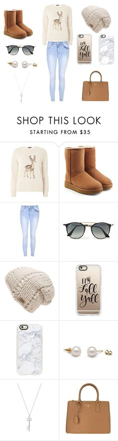 """cute fall outfit"" by morgan2003 on Polyvore featuring Dorothy Perkins, UGG, Glamorous, Ray-Ban, The North Face, Casetify and Prada"