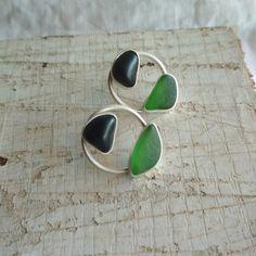 Green seaglass earrings. Sterling silver ear jackets. Black beach stone stud earrings. Multi stone earrings. Sea Glass Jewelry, Glass Earrings, Stone Earrings, Stone Jewelry, Sea Glass Beach, Beach Stones, Gift For Lover, Sterling Silver, Green