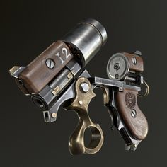 gregory-trusov-5 Arma Steampunk, Steampunk Weapons, Sci Fi Weapons, Weapon Concept Art, Weapons Guns, Fantasy Weapons, Steampunk Mechanic, Mad Max, Revolver Pistol