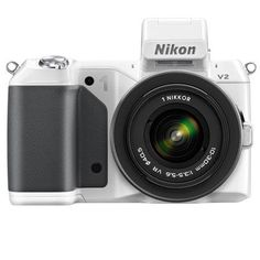 New!! Nikon 1 V2 Mirrorless Digital Camera Body, White, with Nikon 1 10-30mm VR Zoom Lens in White