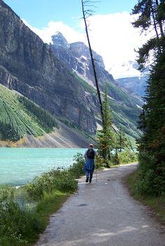 Hiking beside Lake Louise-Banff-hiking up toward the glacier-beautiful!