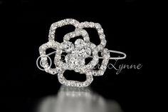 Bridal Barrette of a Swarovski Crystal Flower