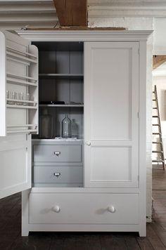 The beautiful Pantry Cupboard from the deVOL Classic English Kitchen Range. Kitchen Larder, Kitchen Pantry Cabinets, Kitchen Storage, Pantry Storage, Kitchen Units, Oak Cabinets, Kitchen Ideas, Kitchen Decor, Pantry Design