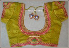 Blouse hand embroidery neck designs by Angalakruthi
