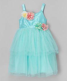 Another great find on #zulily! Light Blue Flower Tiered Dress - Toddler & Girls #zulilyfinds