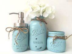 Mint Blue Bathroom Mason Jar Set-Painted Mason Jar Decor-Rustic Bathroom Decor-Chic Decor-Southern-Mason Jar Set-Housewarming-Wedding gift by PrettySimplyStudio on Etsy https://www.etsy.com/listing/449911022/mint-blue-bathroom-mason-jar-set-painted