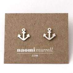 These adorable anchor studs, $40 by Naomi Murrell, are the perfect everyday earrings. These cuties will play nice with the other pieces in your jewellery box.    The studs are cast in sterling silver and have been hand polished to a lovely shine. The earring posts and backs are sterling silver.   Each anchor measures approx 9mm x 9mm.