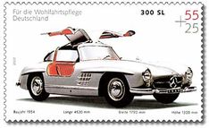 German postage stamp from 2002 of a Mercedes 300 SL - classic gull winged sports car