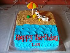 olaf cakes | Olaf and the beach accessories are hand made with fondant, and the ...
