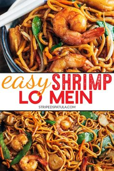 See how easy it is to make restaurant-quality Shrimp Lo Mein at home in just 30 minutes, prep to finish. Weeknight dinner made easy. Seafood Recipes, Dinner Recipes, Cooking Recipes, Easy Shrimp Recipes, Cooking Time, Shrimp Noodles, Shrimp Noodle Stir Fry, Yummy Noodles, Asian Recipes