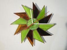 Wall Clock geometric decor lime and chocolate by ZangerGlass, $76.00