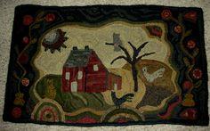 Saltbox Farm, pattern by Janice Johnson, Wooley Woolen.  Hooked by Patty Hoffmeyer.